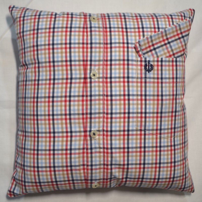 Personalised Cushion In Memory of. Made from Shirts