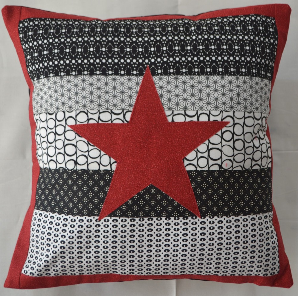 Personalised Cushion Black/White Star Kids, Teenage and Adult Gift Idea