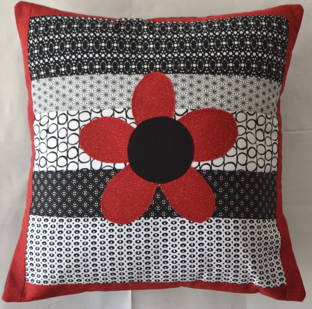 Personalised Cushion Black/White Flower Kids, Teenage and Adult Gift Idea